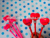New adertising gifts heart tip plastic ball pen with bulb light