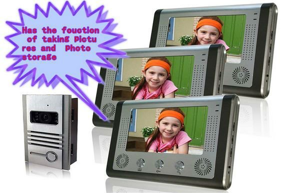 Wholesales 7'' color tft lcd wired video door phone villa /door camera bell /taking pictures automatically