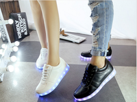50035 New Arrival 2015 Women Men Unisex Couples Shoes Mix Color LED Shoes 11 Light Colors With USB Chargeable Street LED Shoes