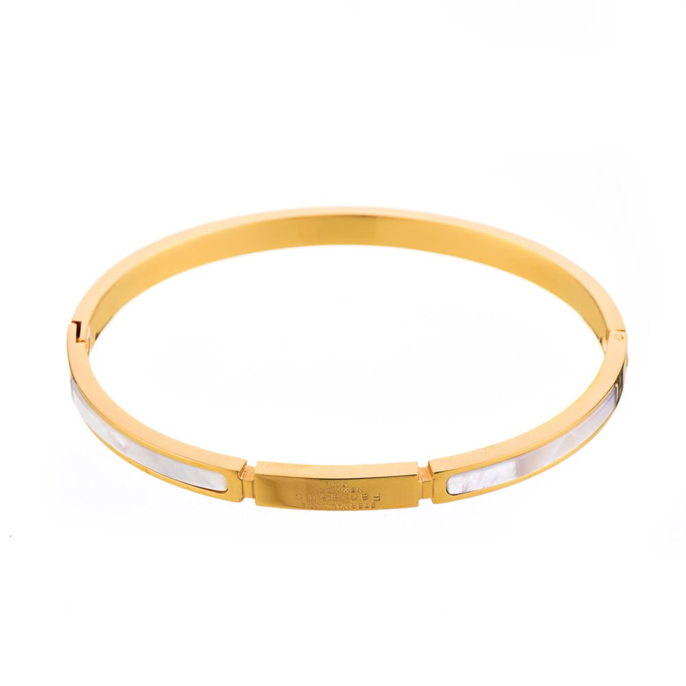 Men Bangle Gold black shell Locked 316 Stainles Steel Bangle with engrave logo