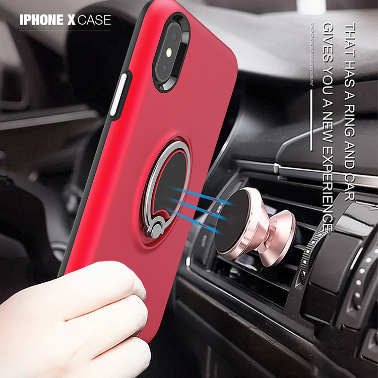 360 rotating metal ring phone case for iphone X tpu cell phone case