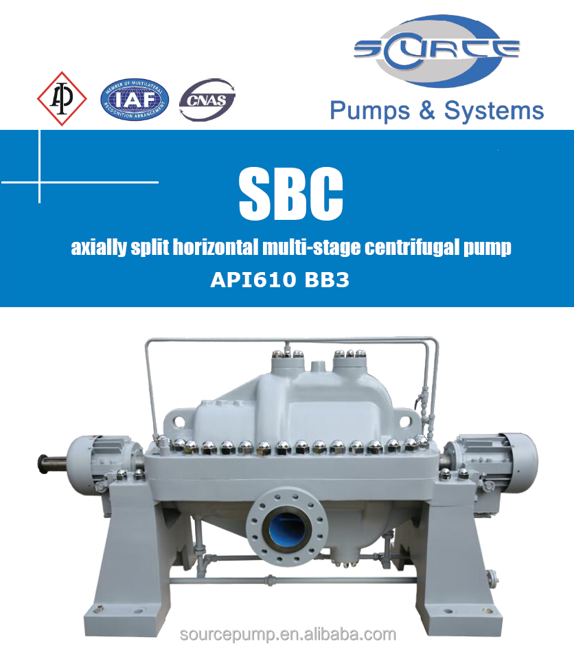 SBC(API610 BB3)axially split horizontal multi-stage centrifugal pump
