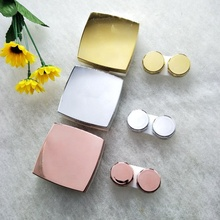 MeeTee High Quality Pink Silver Gold Shiny Mirror Box Surface Contact Lenses Accessories Lens Case with Tweezers H-J198