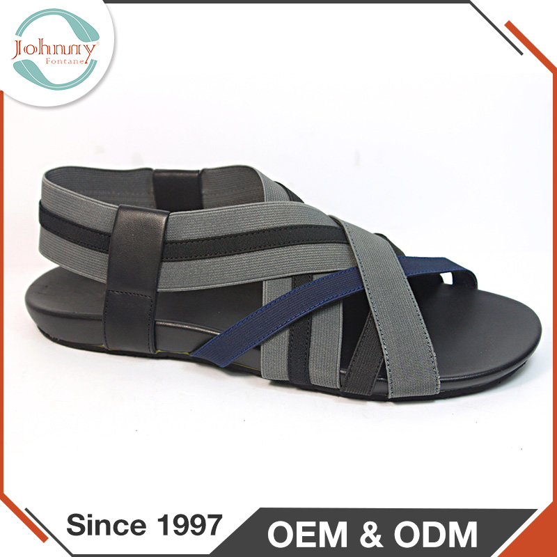 Summer 2017 New Design Black Rubber Outsole PU Men Sandals