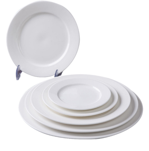 Hotel Wholesale Cheap Bulk China Dinner/Dessert Plates Small White Porcelain Ring Plate Different