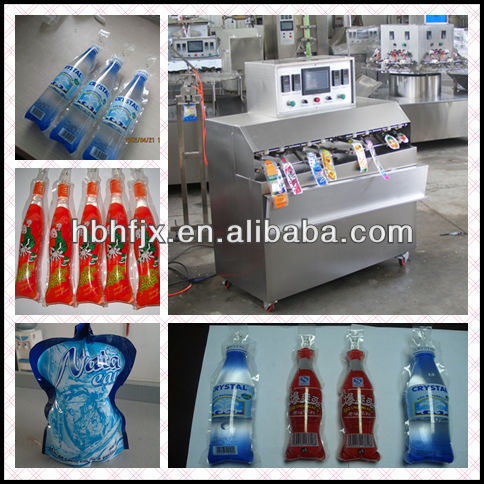 SS304/201 PLC controled 8 nozzle liquid bag filling machine for packing Energy water drink beverage in expansion special shape b