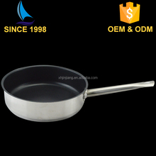 JJ Fashion design straight non stick koekenpan 0.6mm SS201 holle handvat grote wok
