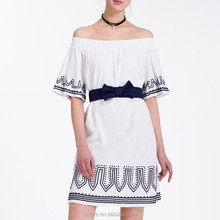 Anly wholesales custom summer new horizontal neck embroidered cotton dress made in china