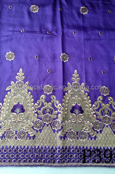 Latest raw silk embroidery george lace 2015