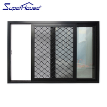 Aluminium frame sliding glass window with Fine steel mesh