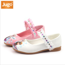 New Fashionable Girls' Nude Shoes TPR Outsole Anti-slip Lace Cartoon Print PU Shoes