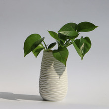 home decoration white ceramic vase with wave feature