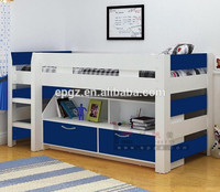 Solid ash wood bedroom furniture set, mdf kid furniture wood double bunk beds designs