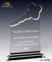 Wholesale Custom Engravable Key Shaped K9 Crystal Trophy Award With Base.