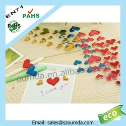 Heart shaped transparent resin dome epoxy sticker