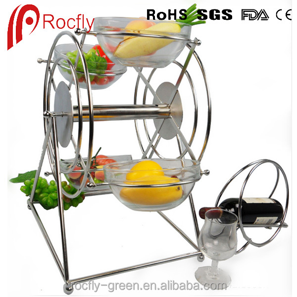 High quality ferris wheel shaped 4 layers Decorative Stainless Steel Food Display Rack /Buffet Display Stand