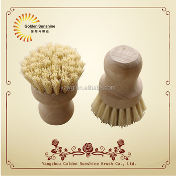 natural wooden handle kitchen dish washing brush and pan brush with tampico fibre