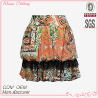 Manufacory women new fashion tight waist colorful floral print lace ornament sexy mini skirt