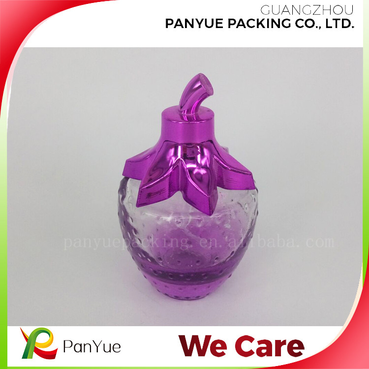 lovely strawberry shape pink perfume glass bottle for car perfume