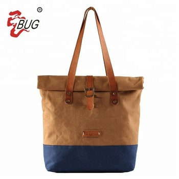 Vintage lady waxed canvas cotton tote bag