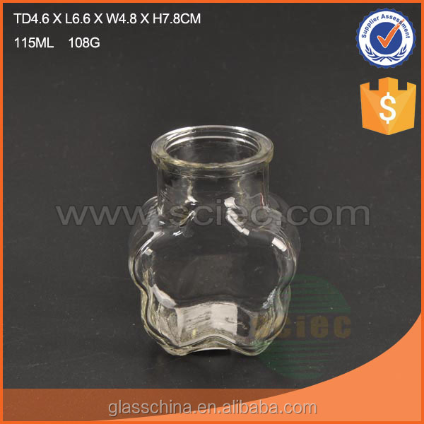 Flower Shaped Glass Storage Jar with Cork Cover 3 Sizes