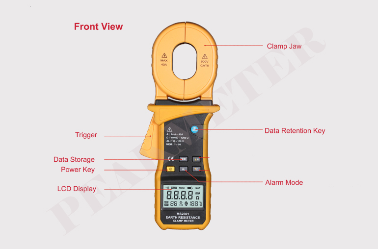 9999 counts 1.5% Accuracy Test voltage 3700V Digital Earth Resistance Clamp Meter