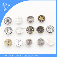 Fashion custom size metal magnetic nickel-Free Washable round No Hole Screw jeans buttons