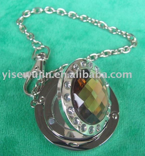 glimmer gemstone and diamond compact mirror purse hanger with key chain