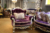 European Victorian Design Purple Solid Wood Carving Living Room Sofa Set/ Antique Elegant Upholstering Three Seats Fabric Sofa
