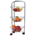 3 Tier Fruit Vegetable Rack,Storage Basket Stand with Wheels