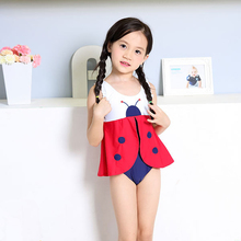 Sunmate China Wholesale Kids Girls Sleeveless Skirt Swimsuit Cartoon Print One piece Swimwear