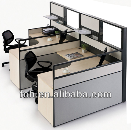 Modern high wall cubicle office workstation furniture design(FOH-BW-A2L1414T)