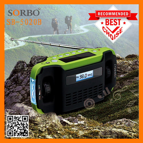 SORBO OEM Factory Cheaper Price Dynamo Hand Crank Portable Radio AM FM with LED Flashlight Torch China Supplier
