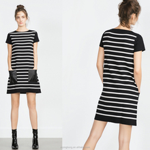 2016 the most fashion black and white stripes knitting girls dress