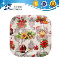 Square white christmas snowman lunch tray