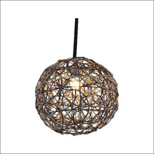 Round Rattan Pendant Woven Lighting Lampshade E27 Can Change The Size
