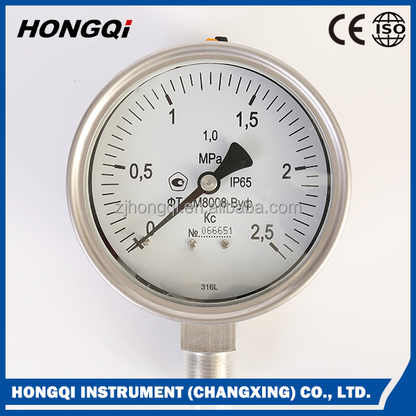 High quality all stainless steel bourdon tube pressure gauge