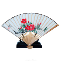 Pyrography Bamboo Ribs Hand Painted Silk Cover Foldable Hand Fan for Wedding Gift and Decoration