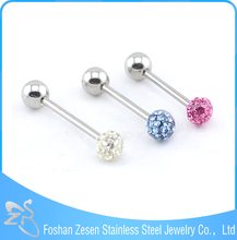 2016 Surgical Steel Crystal Ball Gauge Unique Tongue Ring