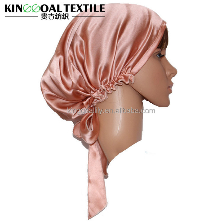 Wholesale Double layer 100% Pure Silk Bonnets for hair silk sleeping cap
