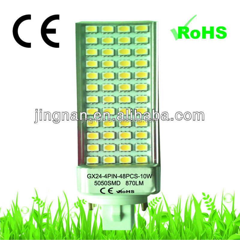High brightness indoor 5050 smd led plug light gx24 10w pl led lamp