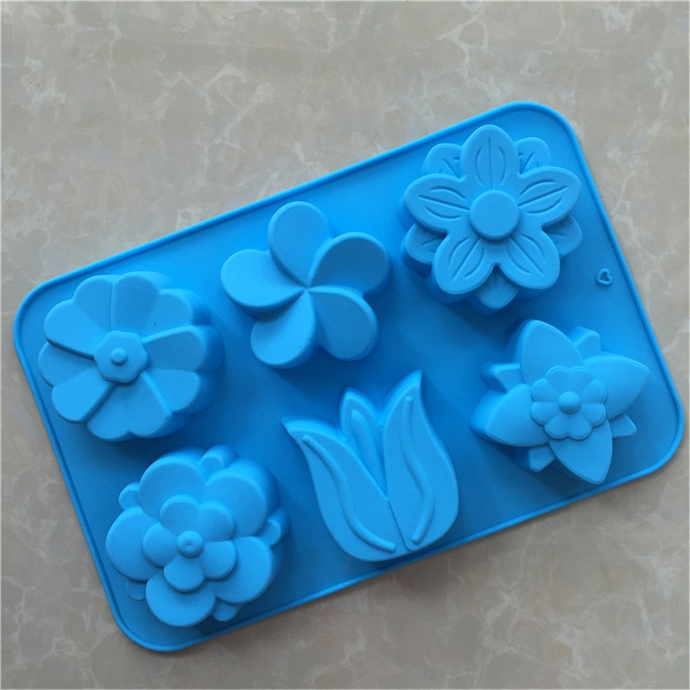 eco-friendly 6 cavity flower shaped jelly cake fondant silicone soap molds for baking