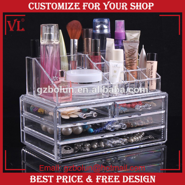 2016 VL Clear Acrylic Lipstick Holder Display Stand Cosmetic Organizer Makeup Case
