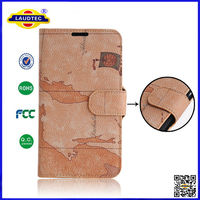 Map Pattern Flip Wallet pu Leather Case Cover For Samsung Galaxy Note 2 N7100--Laudtec