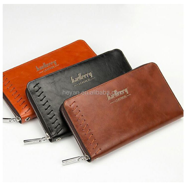 Wholesale Classic Brown PU Leather Men's Male's Zipper Wallets Purses