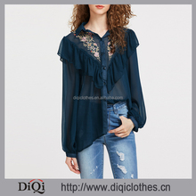 2017 new designs wholesale price stylish ladies Navy Frill Trim Embroidered Yoke Semi Sheer Blouse