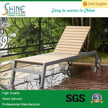 Foldable outdoor furniture teak wood single sun bed chaise lounge chair