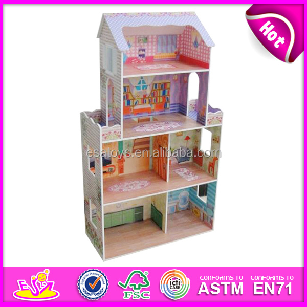 2015 New cute kids wooden doll house toy,popular lovely children wooden doll house,fashion DIY diy wooden doll house W06A080