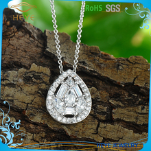 2016 Heye wholesale fashion charms pendant silver original CZ Oval hollow out necklace pendant jewelry