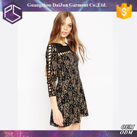 Daijun oem summer high quality black floral one piece new style sexy velvet dress